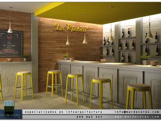 Visualización Arquitectónica (3D) Mar de Cores estudio 3D Bares y clubs de estilo moderno