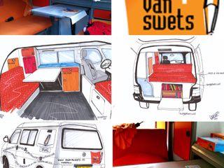 Interieur en exterieur remedial teaching bus van Swets LINDESIGN Amsterdam Ontwerp Design Interieur Industrieel Meubels Kunst Rustieke autodealers Oranje