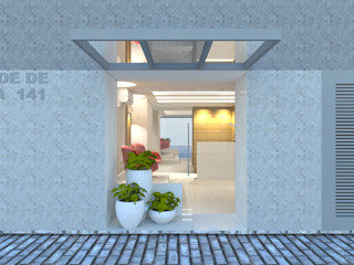 Carolina Mendonça Projetos de Arquitetura e Interiores LTDA Modern corridor, hallway & stairs