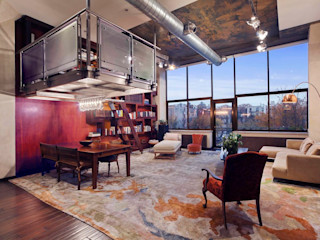 Joe Ginsberg Design Modern living room Multicolored