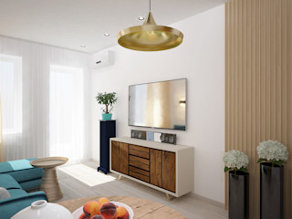 ЙОХ architects Ruang Keluarga Gaya Eklektik
