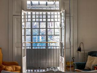 Double Height Glazed Industrial Style Steel Frame Extension Trombe Ltd Окна и двери в стиле модерн