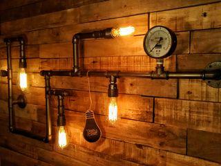 Aplique Pared Industrial Steampunk Focos Vintage Lamparas Vintage Vieja Eddie LivingsIluminación Hierro/Acero Gris