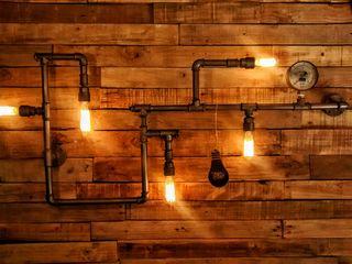 Aplique Pared Industrial Steampunk Focos Vintage Lamparas Vintage Vieja Eddie Oficinas y locales comerciales Hierro/Acero Gris
