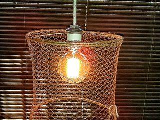 Lampara Colgante Jaula Malla Tejida Lamparas Vintage Vieja Eddie Pasillos, vestíbulos y escaleras Iluminación Hierro/Acero Multicolor