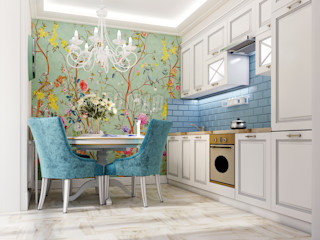 Vera Rybchenko 地中海デザインの キッチン 青色