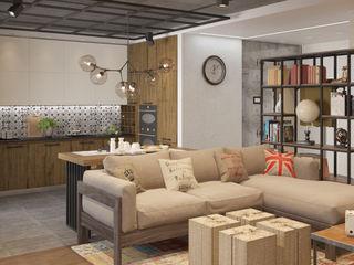 Ольга Райская Industrial style living room Brown