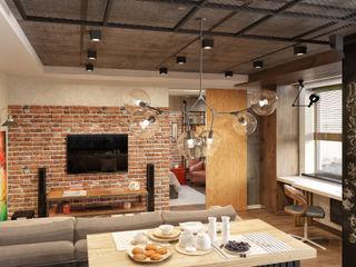 Ольга Райская Industrial style living room Concrete Brown