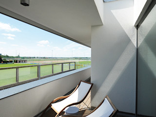 GRIMM ARCHITEKTEN BDA Balkon, Beranda & Teras Modern White