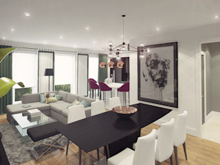 Ksenia Konovalova Design Salas de estilo moderno Gris