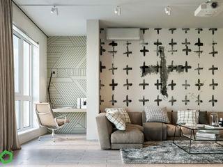 Polygon arch&des Modern style study/office Grey