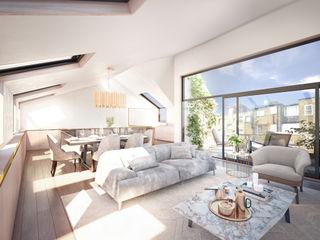Kensington Rooftop Pavilion, London ÜberRaum Architects Modern living room