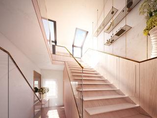 Kensington Rooftop Pavilion, London ÜberRaum Architects Modern corridor, hallway & stairs