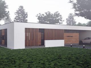 Проект современного одноэтажного дома в России Sboev3_Architect Дома в стиле минимализм Кирпичи