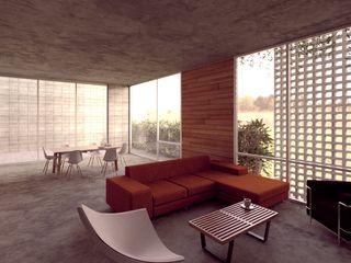 Lozano Arquitectos Soggiorno minimalista Cemento Grigio
