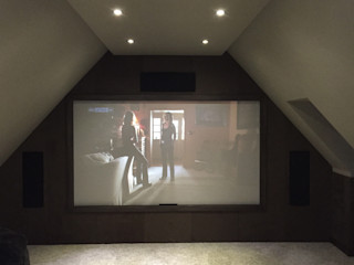 Loft Cinema Room with fabric walls and LED lowered ceiling Designer Vision and Sound Media room
