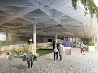 UN LABERINTO ZEBRA LAB ARQUITECTURA Jardines de estilo moderno