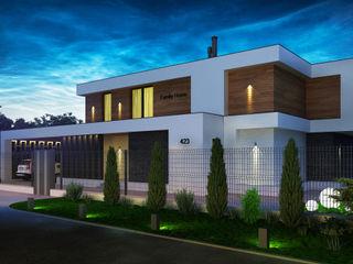 Проект современного частного дома в Подмосковье Sboev3_Architect Дома в стиле минимализм
