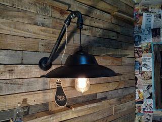 Aplique Pared Pantalla Chapa Lamparas Vintage Vieja Eddie Oficinas y locales comerciales Hierro/Acero Negro