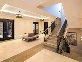 Hampstead Garden Suburb Homes KSR Architects Classic style corridor, hallway and stairs Limestone Beige