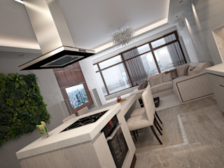 Современная квартира с элементами ар-деко премиум интериум Кухня в стиле минимализм