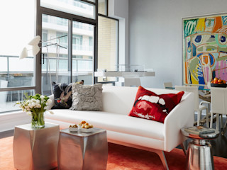 Downtown Pied-a-Terre Douglas Design Studio Modern living room Red