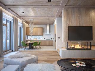 Загородный дом из бруса премиум интериум Гостиная в стиле минимализм