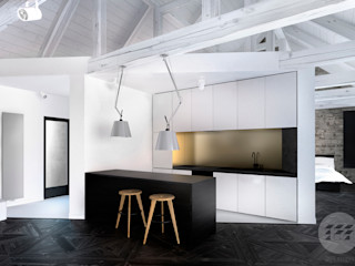 365 Stopni Cuisine minimaliste Bois composite Blanc