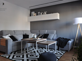 Architekt wnętrz Klaudia Pniak Salones de estilo escandinavo Blanco
