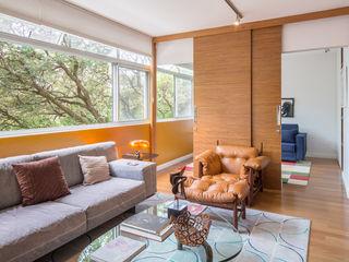 Reforma de apartamento - Simmetria Arquitetura Joana França Salas de estar modernas
