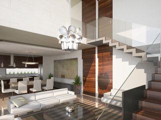 DAR Arquitectos Minimalist living room Stone White