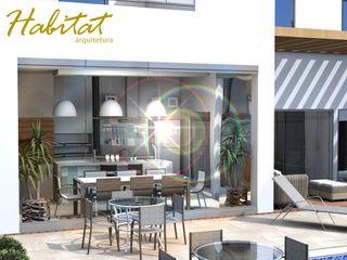 Habitat arquitetura Cocinas de estilo tropical Vidrio Turquesa