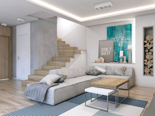 BAGUA Pracownia Architektury Wnętrz 北欧デザインの リビング