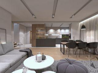 BAGUA Pracownia Architektury Wnętrz モダンデザインの リビング