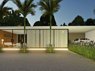 Lopes e Theisen Arquitetura Casas de estilo minimalista Concreto Blanco