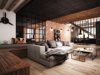 ARHITEKTO Industriale Wohnzimmer Schwarz