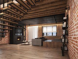 ARHITEKTO Industriale Wohnzimmer Ziegel Rot