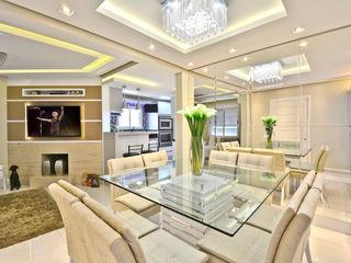 SALA DE JANTAR E ESTAR Graça Brenner Arquitetura e Interiores Salas de jantar modernas MDF Branco