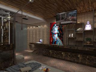 Studio Diego Duracenski Interiores Industrial style bedroom Bricks Wood effect