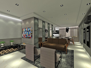 Studio Diego Duracenski Interiores Modern living room Concrete Grey
