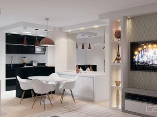 Lúcia Vale Interiores 餐廳 塑木複合材料 White