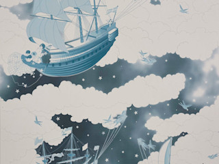 FISHING FOR STARS Midnight Wallpaper 10m Roll Hevensent 가정 용품Accessories & decoration