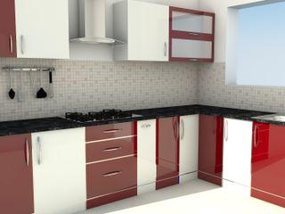 Modular L Shape Kitchen without Loft ServiceBELL Solutions PVT Ltd Modern Kitchen Plywood Red