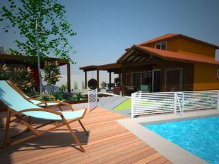 Exteriores Casa 49 DIMA Arquitectura y Construcción Balcones y terrazas modernos