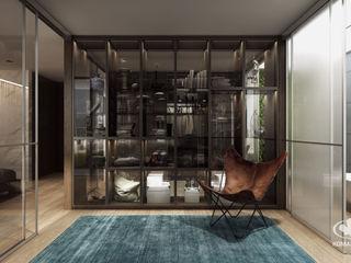 Komandor - Wnętrza z charakterem Modern dressing room Chipboard Wood effect