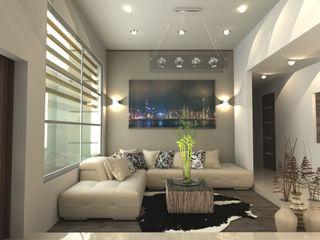 OLLIN ARQUITECTURA Modern Living Room Aluminium/Zinc Green