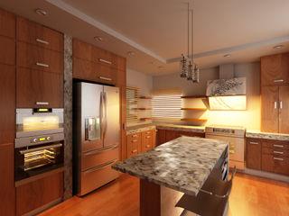 OLLIN ARQUITECTURA Modern Kitchen Wood Wood effect