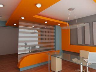 OLLIN ARQUITECTURA Minimalist dining room Wood-Plastic Composite Orange