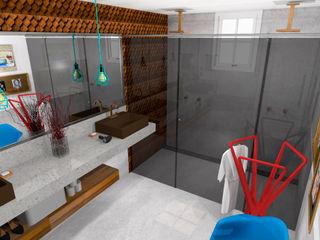 Thiago Zuza Design de interiores Ванная комната в стиле модерн Бетон Белый