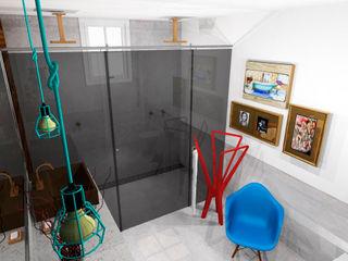 Thiago Zuza Design de interiores Ванная комната в стиле модерн Металл Янтарный / Золотой